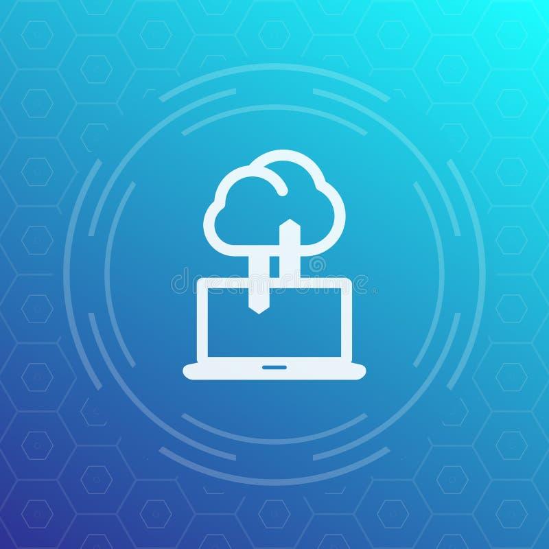 De synchronisatie met wolkenpictogram, gegevens uploadt, synchronisatie vector illustratie
