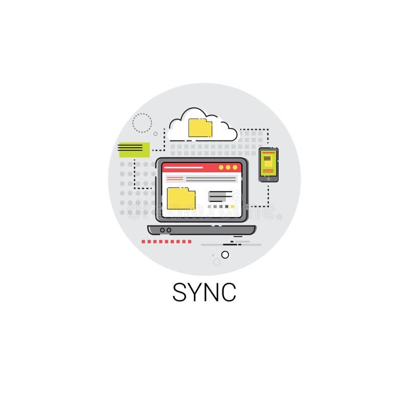 De synchronisatie synchroniseert Internet-het Pictogram van de Wolkentechnologie royalty-vrije illustratie