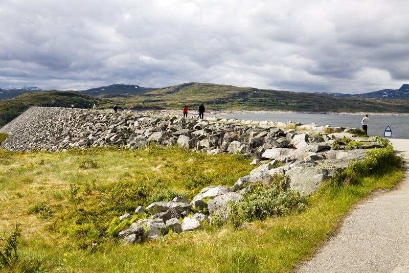 De Sysen-dam in Hordaland, Noorwegen royalty-vrije stock foto