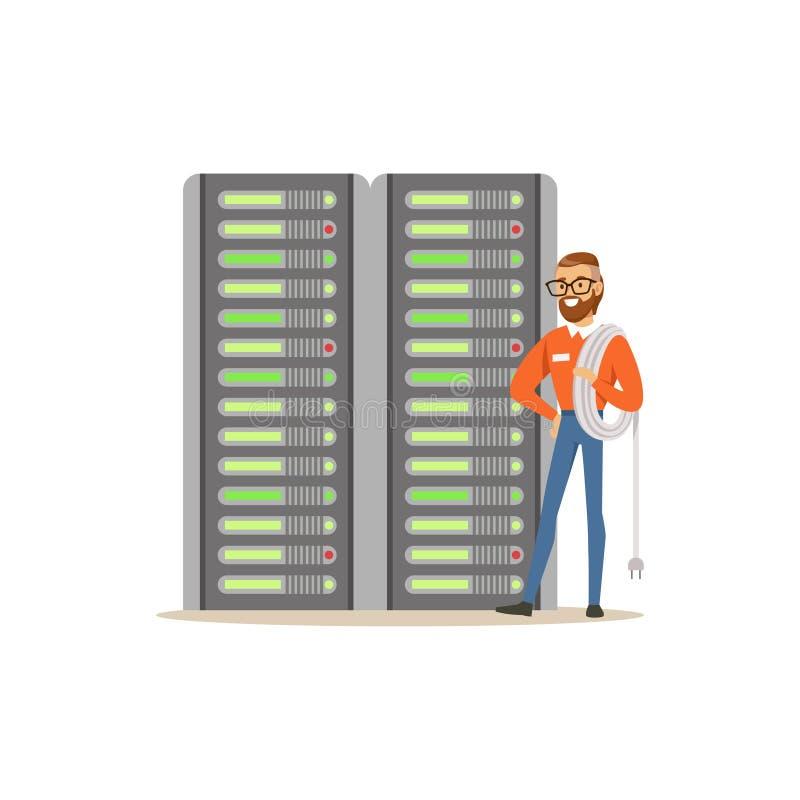 De systeembeheerder, serveradmin, programmeur het werken met hardwaremateriaal van gegevens centreert, serveronderhoud royalty-vrije illustratie