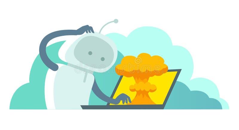 De systeemfout in laptop heldendicht ontbreekt Atoombomexplosie kern vector illustratie