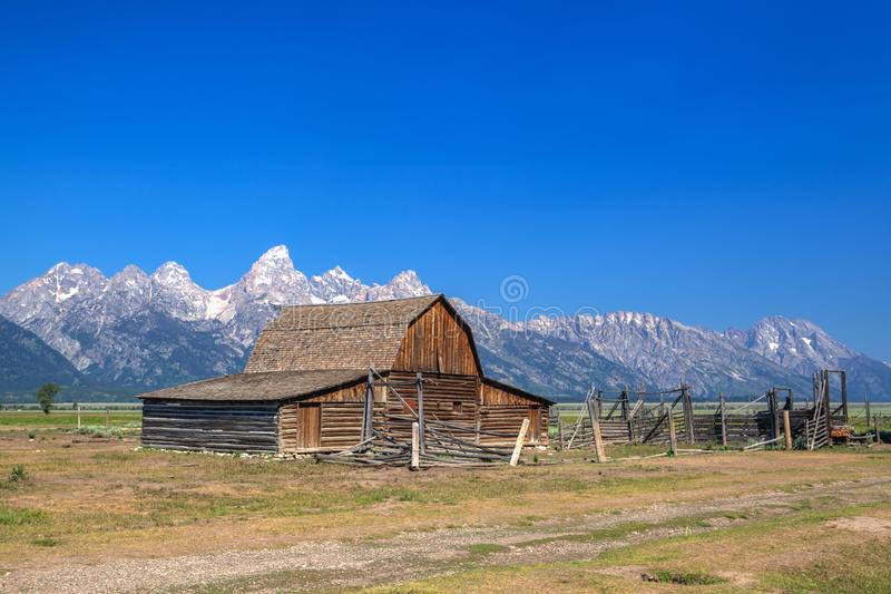 De T A De Moultonschuur is een historische schuur in Wyoming, Verenigde Sta stock foto's