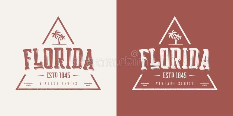 De t-shirt en de kledingsontwerp van de staat van Florida geweven uitstekend vector stock illustratie