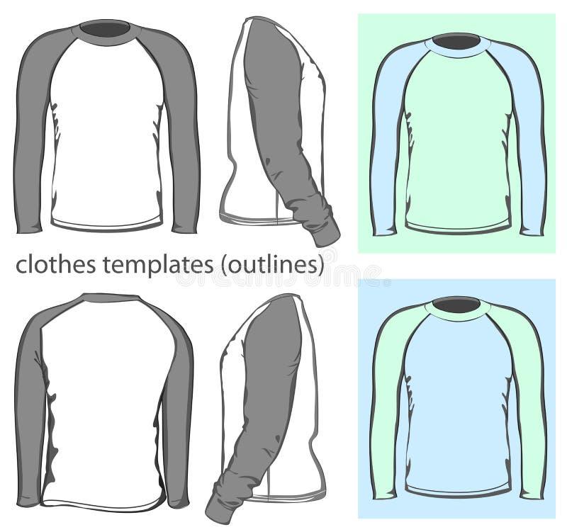 De t-shirt lange raglan van mensen koker vector illustratie
