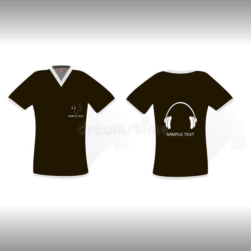 De t-shirt van Blak met origineel hoofdtelefoonsontwerp royalty-vrije illustratie