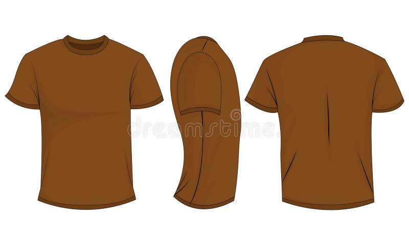 De t-shirt van bruine mensen met korte kokers voor, achter, zijaanzicht Geïsoleerdj op witte achtergrond stock illustratie