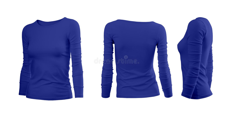 De T-shirt van de blauwe vrouw stock foto's