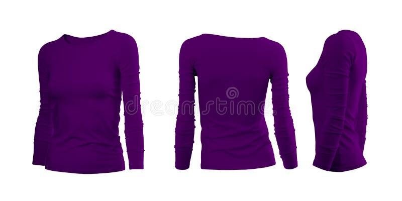 De T-shirt van de purpere vrouw stock afbeeldingen