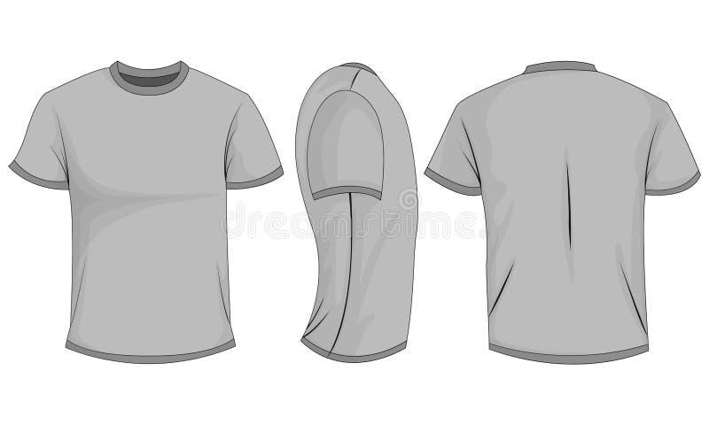 De t-shirt van grijze mensen met korte kokers voor, achter, zijaanzicht Geïsoleerdj op witte achtergrond royalty-vrije illustratie