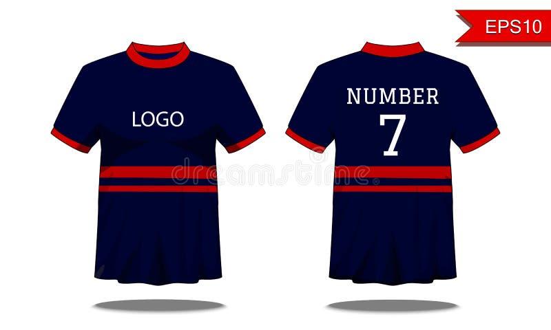 De t-shirt van sportmensen ` s met korte koker in voor en achtermening DA vector illustratie
