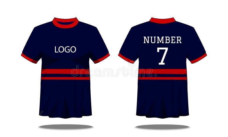 De t-shirt van sportmensen ` s met korte koker in voor en achtermening Donkerblauw met rode streep en Editable-kleurenontwerp Spo royalty-vrije illustratie