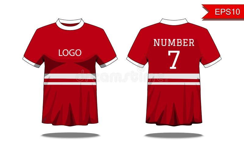De t-shirt van sportmensen ` s met korte koker in voor en achtermening Re royalty-vrije illustratie