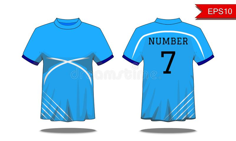 De t-shirt van sportmensen ` s met korte koker in voor en achtermeningen B vector illustratie