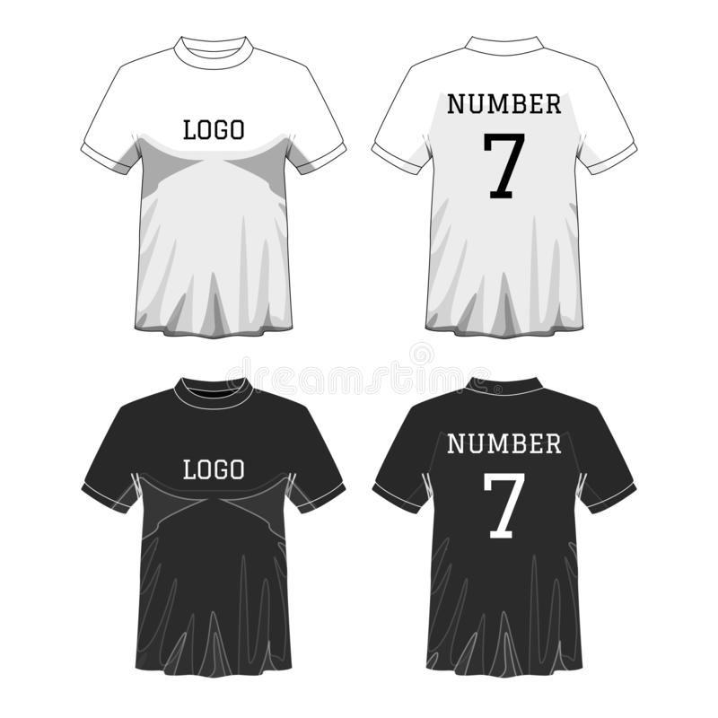 De t-shirt van sportmensen ` s met korte koker in voor en achtermeningen Zwart-witte of Ontwerp editable kleur Spot omhoog van sp stock illustratie