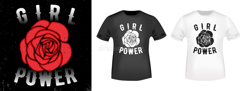 De t-shirtdruk van de meisjesmacht vector illustratie