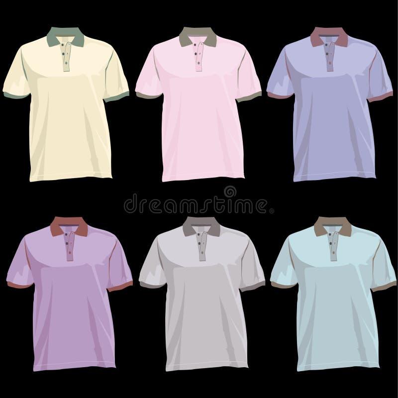 De t-shirtmalplaatje van het polo met kraagvoorzijde en rug stock illustratie