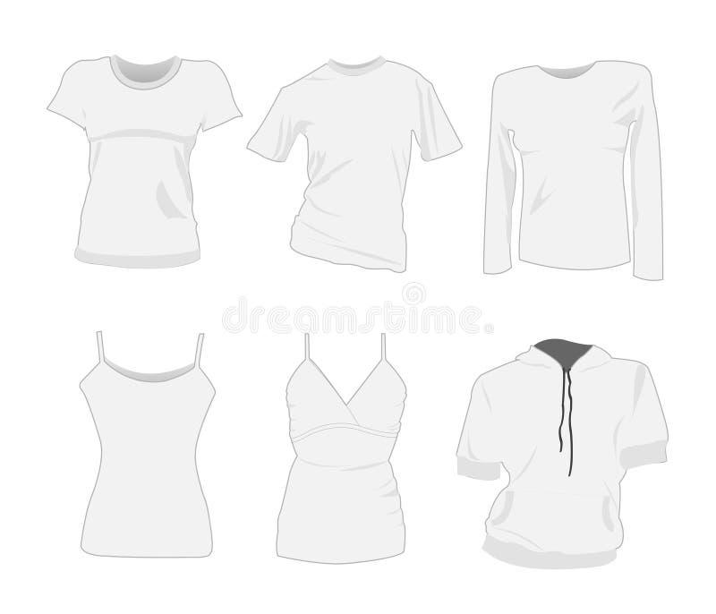 De t-shirtmalplaatjes van de vrouw vector illustratie