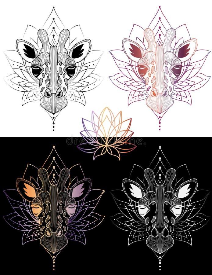 De t-shirtontwerp van de giraf tatoeeert het hoofd grafische illustratie en kleur 4 stock foto's