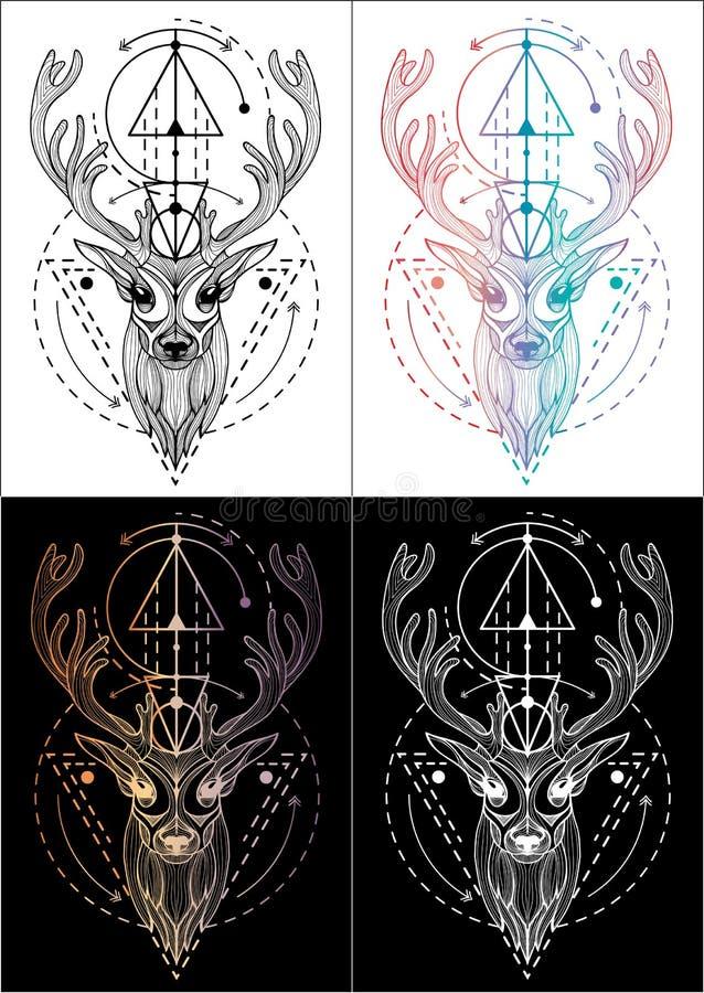 De t-shirtontwerp van de herten tatoeeert het grafische illustratie en kleur 4 stock afbeelding