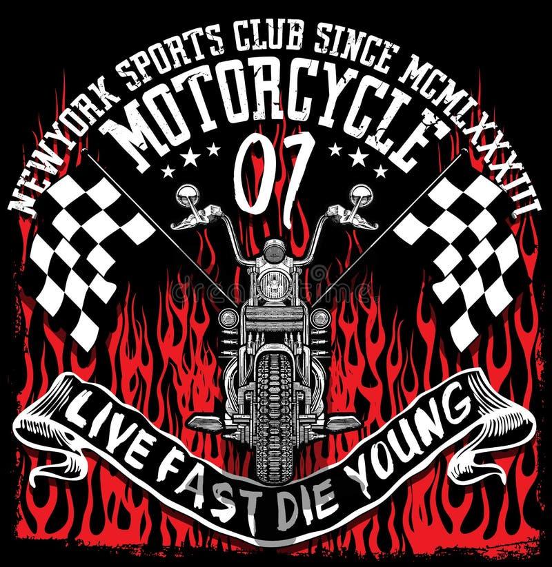 De t-shirtontwerp van het motorfietsetiket met illustratie vector illustratie