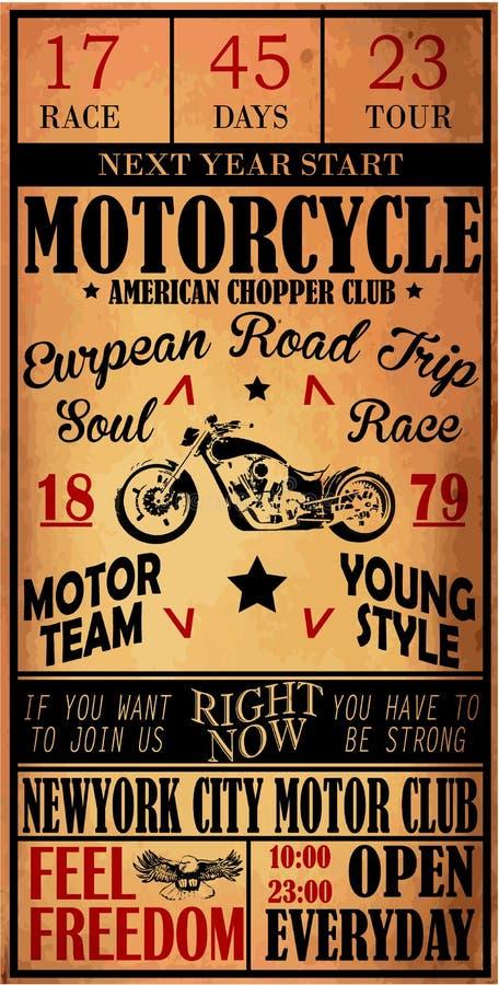 De t-shirtontwerp van het motorfietsetiket met illustratie van douanekarbonade vector illustratie