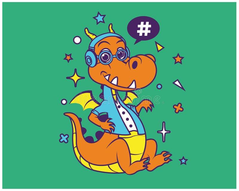 De T-shirtontwerp van Hipsterdragon cartoon royalty-vrije illustratie