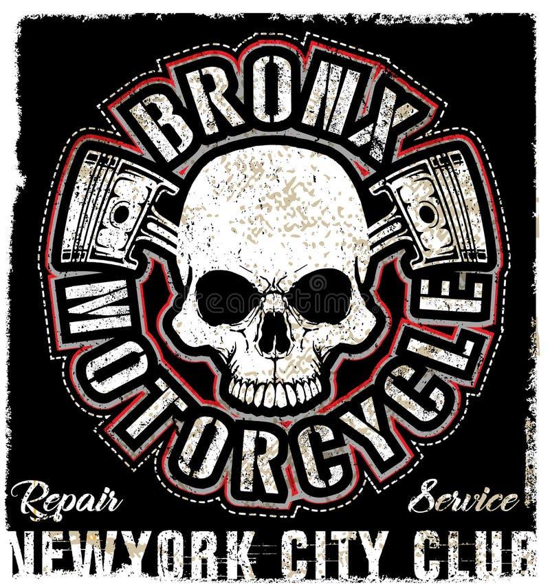 De T-shirtontwerp van Logo Emblem van de schedel Uitstekend Motorfiets royalty-vrije illustratie