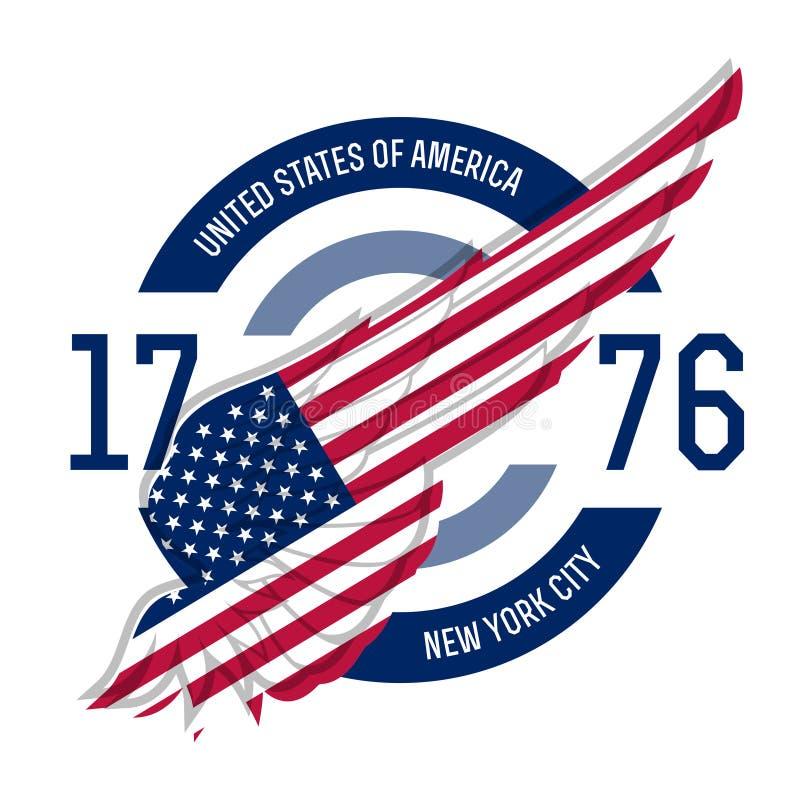 De t-shirtontwerp van New York De T-stukmalplaatjes met vleugel en de V.S. markeren mede royalty-vrije illustratie
