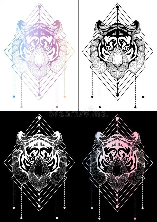 De t-shirtontwerp van de tijger tatoeeert het grafische illustratie en kleur 4 stock foto
