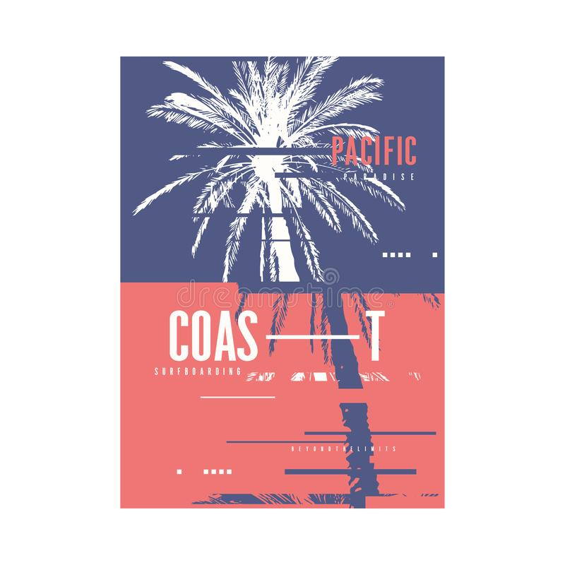De t-shirtontwerp van de vreedzame kust Grafisch zomer met de hand getrokken palm Vector illustratie royalty-vrije illustratie
