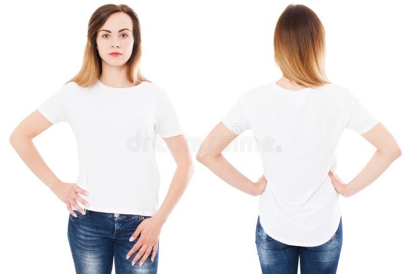 De t-shirtreeks, vrouw in lege die t-shirt op witte achtergrond wordt geïsoleerd, richtte op t-shirt stock foto's