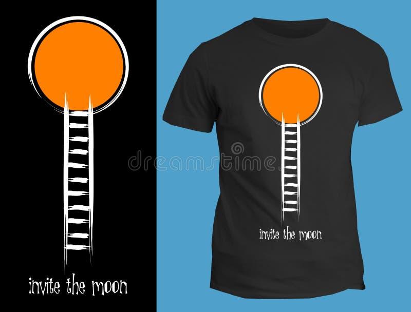 De t-shirts van het ontwerpbeeld - nodig de maan uit vector illustratie