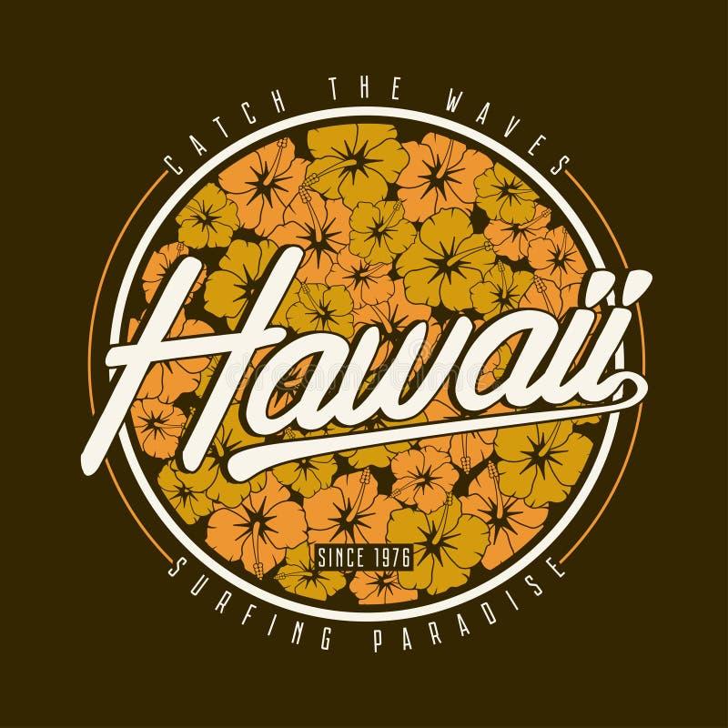 De t-shirttypografie van Hawaï Bloemen het surfen druk met hibiscusbloem voor Hawaiiaans kledingsontwerp royalty-vrije illustratie