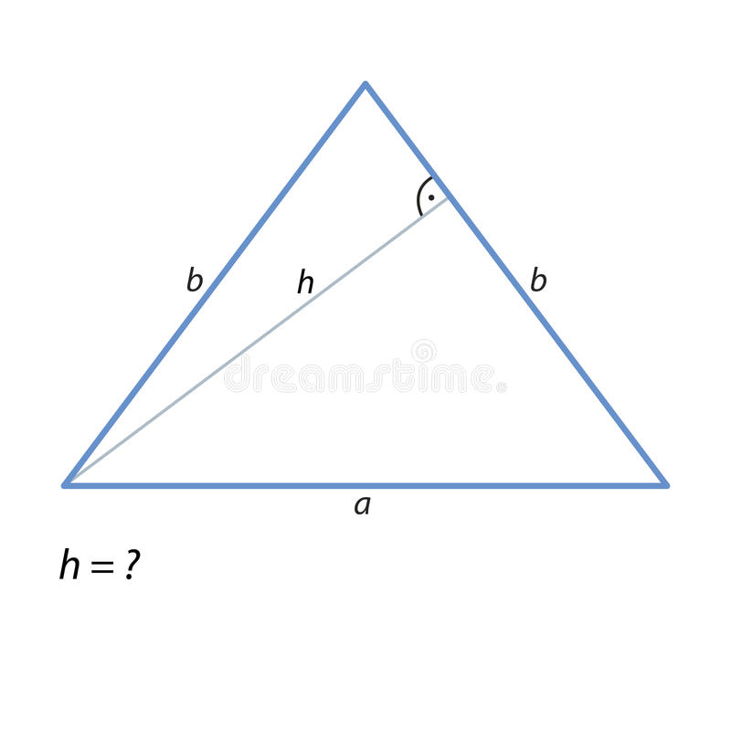 De taak om de hoogte van te vinden gelijkbenige driehoek-01 vector illustratie