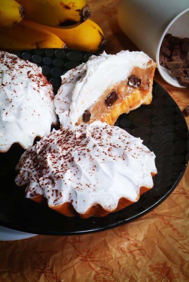 De taartjes van de chocolade met benana royalty-vrije stock foto's