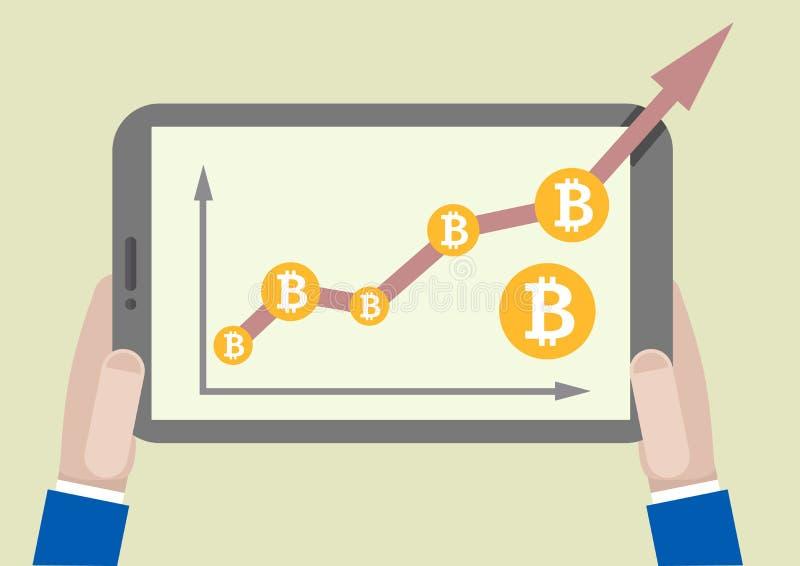 De tablet bitcoin groei royalty-vrije illustratie