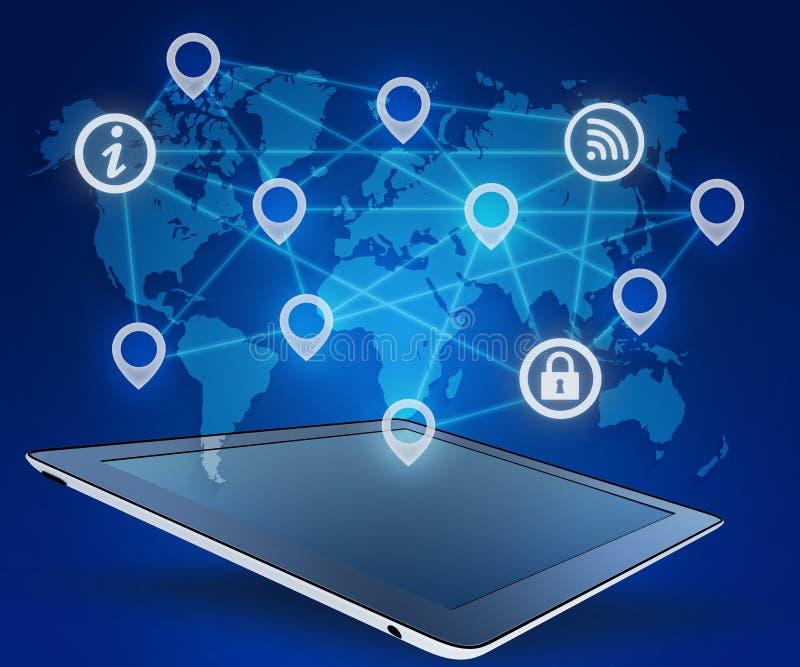 De tablet en de pictogrammen verbinden netwerk op wereldkaart royalty-vrije illustratie