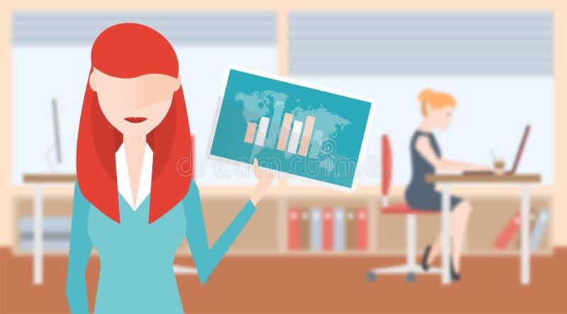 De Tablet roodharige van de Bedrijfsvrouwenholding met Grafische Analyse Op Achtergrond is Vaag Bureau met Bureaus en Computers vector illustratie