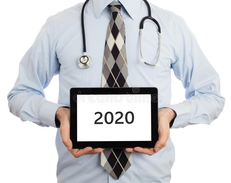 De tablet van de artsenholding met exemplaar ruimte en het knippen weg voor royalty-vrije stock foto's