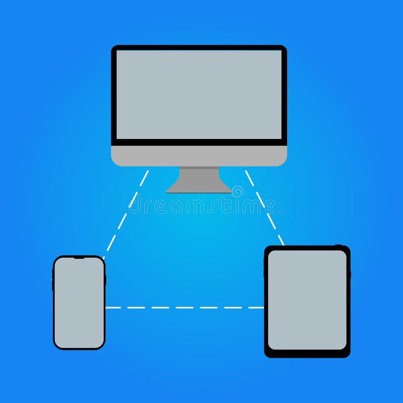 de tablet van de computertelefoon elkaar met betrekking tot stock illustratie