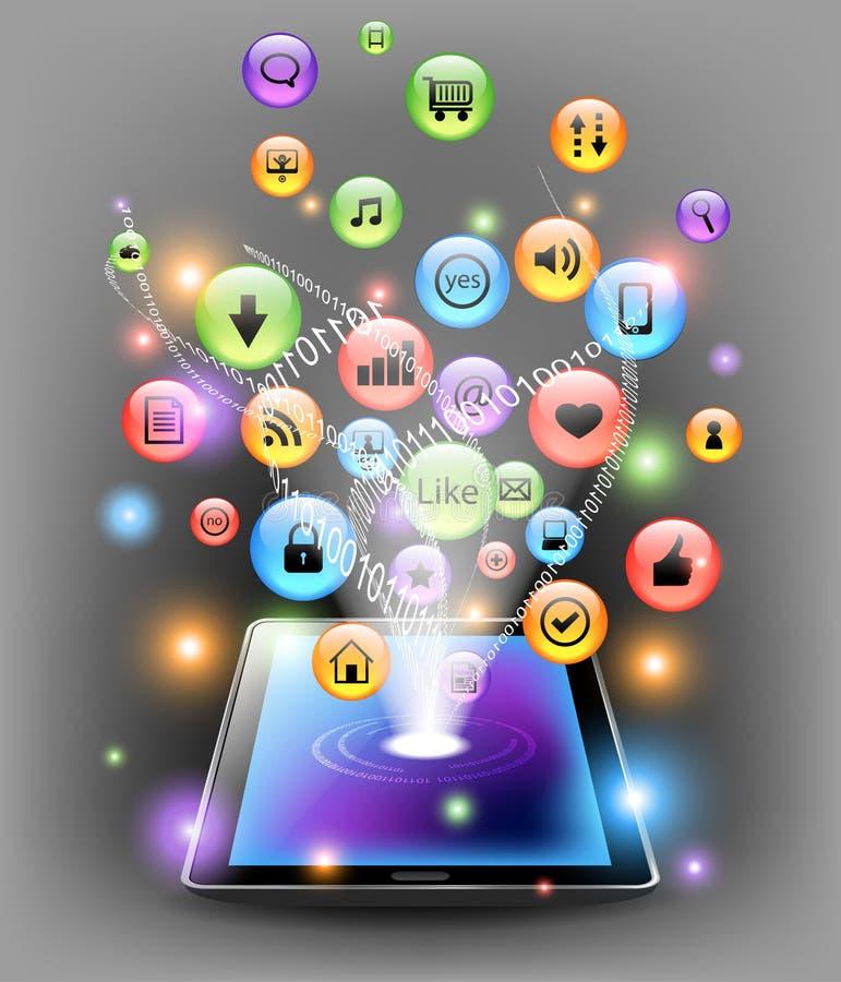 De tablet van de computer met Internet pictogrammen stock illustratie