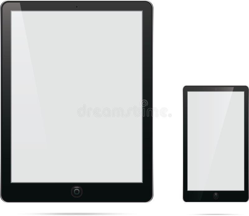 De tablet van de computertelefoon met het lege witte scherm royalty-vrije illustratie