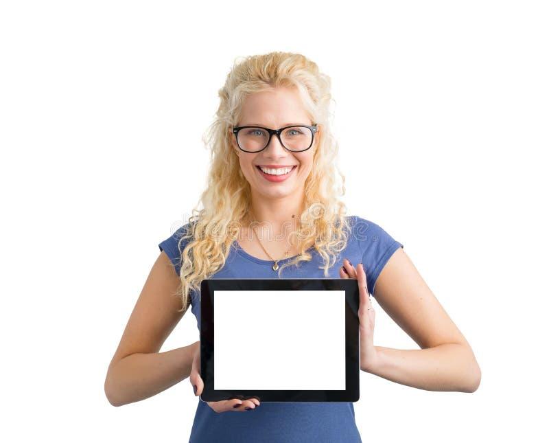 De tablet van de de holdingscomputer van de Hipstervrouw met het lege scherm royalty-vrije stock foto's