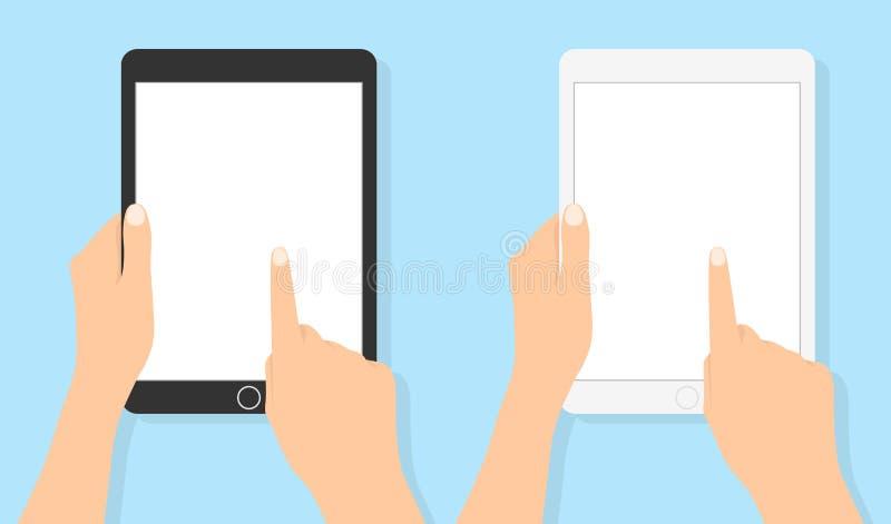 De tablet van de handholding en wat betreft het scherm Vlakke vectorillustratie royalty-vrije illustratie