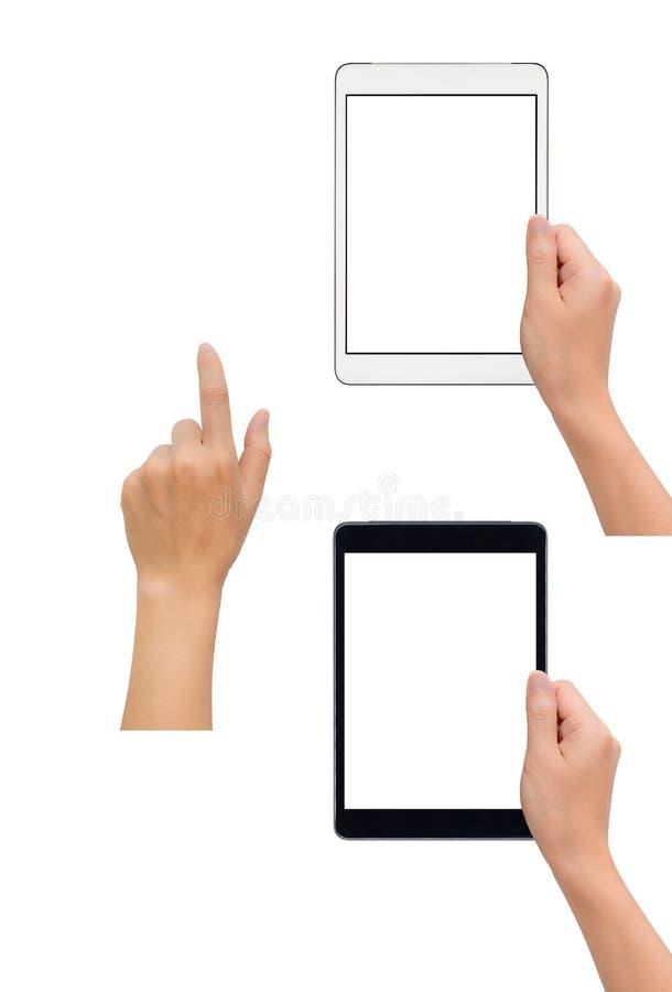De tablet van de handholding met hand wat betreft gebaar stock afbeeldingen