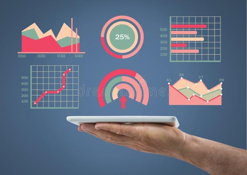 De tablet van de handholding met kleurrijke grafiekstatistieken stock illustratie