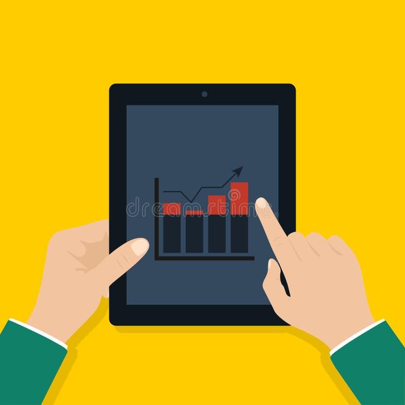 De tablet van de zakenmanholding met het kweken van grafiek op het tabletscherm Bedrijfs concept royalty-vrije illustratie
