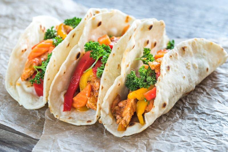 De taco's van de kip royalty-vrije stock afbeelding