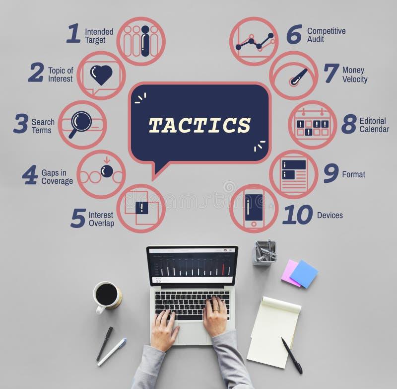 De Tactiek Grafisch Concept Strategiemethodes van de bedrijfs van Analytics stock afbeeldingen