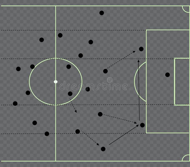 De tactische regeling van het voetbalspel De regeling van het spel strategie tactiek Op het bord Voor uw ontwerp Vector grafisch  stock illustratie